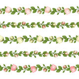 Set of horizontal seamless garlands with pink and white flowers. Vector illustration. Royalty Free Stock Image