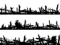 Set of horizontal silhouette banners with windbreak forest. Set of horizontal silhouette banners with many broken tree trunks windbreak, deadwood, windfall Stock Photo