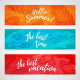 Set of horizontal summer banners with fish, leaf, swimsuit Stock Photography