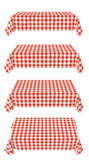Set of horizontal tablecloth with red checkered pattern Stock Photo