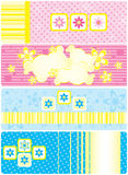 Set of horizontal tags. Set of four different blue and pink horizontal baby  tags for boys and girls, illustration, vector Stock Photo