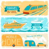Set of horizontal travel banners in retro style Royalty Free Stock Image