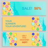 Set of Horizontal travel summer Banners with Stock Photos