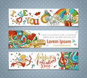 Set of horizontal Valentine's banners. Stock Photo