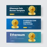 Set of horizontal vector banners with a pile of gold coins crypt. O currency ethereum. Multicolored templates for web design with text and buttons Royalty Free Stock Photography