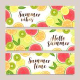 Set of horizontal vector summer banners with fruits. Citrus, orange, lemon, watermelon and kiwi fruits slices. Design template Royalty Free Stock Photography