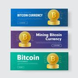 Set of horizontal vector web banners with a stack of gold coins. Of crypto currency bitcoin with a chip. Design templates for the web with a purple, green and Royalty Free Stock Photo