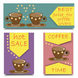 Set horizontal and vertical banners for advertising of coffee. Stock Photo