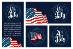 Set horizontal, vertical, square posters 4th of July. Set horizontal, vertical, square posters with firework and american flag. 4th of July lettering inscription vector illustration