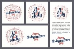 Set horizontal, vertical, square posters World environment day. Set horizontal, vertical, square posters. Happy Independence Day lettering inscription with rays vector illustration