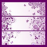 Set of horizontal violet floral greeting banners Stock Photo