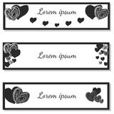 Set horizontal watercolor banners with hearts. Stock Photography