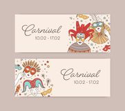 Set of horizontal web banner templates with traditional Venetian masks, cap and bells and costumes for carnival, Mardi. Gras celebration or masquerade ball vector illustration