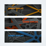 Set of horizontal web banners with intersecting lines on backgro Stock Photo