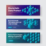 Set of horizontal web banners with isometric illustration of a b. Lockchaine system. Design for the web with a violet and blue gradient, binary code and crypto Stock Image