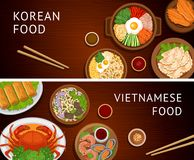 Set of horizontal web banners. Vietnamese, Korean cuisine. royalty free illustration