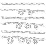 Set of horizontal white ropes with loops are isolated on white background. Stock Photos