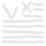 Set of horizontal white ropes with tick and cross symbols are isolated on white background. Royalty Free Stock Image