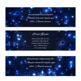 Set of horizontal winter festive banners with snowflakes Royalty Free Stock Images