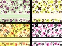Set horizontale Retro- Fahnen mit Blumen Lizenzfreie Stockfotografie