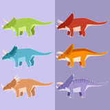 Set of horned dinosaurs Stock Images