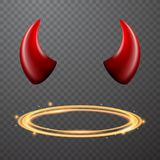 Set of a horns and a halo, nimbus. Vector design stock illustration