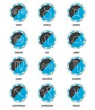Set of 12  horoscope icons,  illustration. Set of 12  horoscope icons, round blue buttons with signs on white background,   illustration Royalty Free Stock Photography