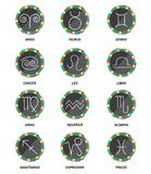 Set of 12  horoscope icons, vector illustration. Set of 12  horoscope icons, round buttons with signs on white background,  vector illustration Stock Photography