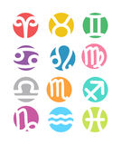 Set of horoscope zodiac signs - colorful flat Stock Photo