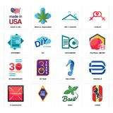 Set of horse, basil, placeholder, sea 30 anniversary, datacenter, statement, dry cleaning, made in usa icons. Set Of 16 simple  icons such as horse, basil Royalty Free Stock Photo