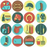 Set of horse equipment icons Royalty Free Stock Photo