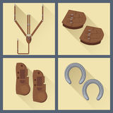 Set of horse gear in flat style Stock Photography