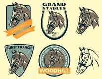 Set of horse head logo. Stock Photo