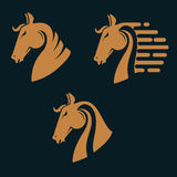 Set of horse head silhouettes. Royalty Free Stock Image