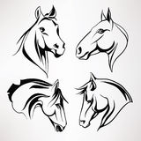 A set of horse heads. Vector illustration. Silhouette of horses heads in black white Royalty Free Stock Photo
