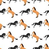 Horse pony stallion seamless pattern color farm equestrian animal characters vector illustration. Royalty Free Stock Photos