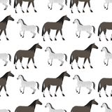 Horse pony stallion seamless pattern color farm equestrian animal characters vector illustration. Stock Photography