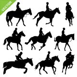 Horse riding silhouettes vector Royalty Free Stock Photography
