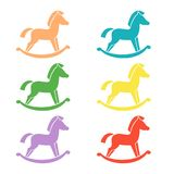 Set of horse toy icons on the white background. vector illustration