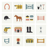 Set of horseback riding icons Royalty Free Stock Image