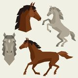 Set of horses different poses in flat style Stock Photos