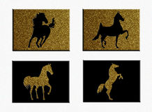 Set of Horses on Raised Block. A set of four horse silhouettes: two black on gold glitter backgrounds and two gold glitter on black backgrounds royalty free illustration