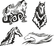 Set of horses for tattoo stencils Royalty Free Stock Photo