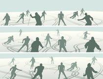 Set horyzontalne abstrakcjonistyczne sztandar sylwetki narciarki w wzgórzu ilustracja wektor