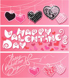 Set 3 horyzontalnego sztandaru szczęśliwy dzień valentine s Obraz Stock