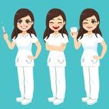 Hospital Nurse Set. Set of hospital nurse on three different pose and face expressions royalty free illustration