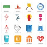 Set of hospitality, bank branch, broken glass, specification, ganesh, fire hydrant, shotgun, adaptability icons. Set Of 16 simple  icons such as hospitality Royalty Free Stock Photos