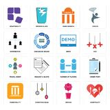 Set of hospitality, orchid, municipality, number players, travel agent, demo, distributor, bank branch, adaptability icons. Set Of 16 simple  icons such as Royalty Free Stock Image