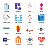 Set of hospitality, travel agent, grammar, xxx, buffering, ganesh, request a quote, order form icons. Set Of 16 simple  icons such as hospitality, travel agent Stock Photos