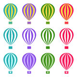 Set of hot air balloons on white background,  illustration Royalty Free Stock Photo